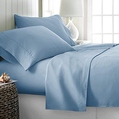 Pride Beddings - Juego de sábanas de algodón egipcio de 700 hilos, 4 piezas, 14 a 43 cm de profundidad, tejido de satén suave y suave, bolsillo profundo, ropa de cama de lujo, color azul cielo