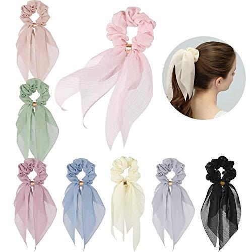 Haar Sjaals voor Vrouwen Meisjes, Q&A 8 Stks Dubbele Laag Bow Scrunchies voor Haar Bunny Oor Scrunchies met Verschillende kleuren, Elegante Sjaal Haar Ties Strik Paardenstaart Houder voor Party Travel Dagelijks
