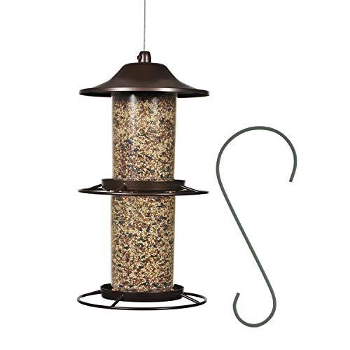 feeder for multiple birds Perky-Pet 325SCOMBO-1SR 2-Tier Panorama Bird Feeder with Hanging Hook– 4.5 lb