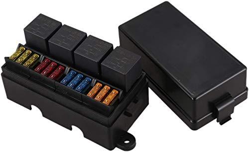 TAST 12 WAY Blade Fuse Support Box mit Blade Clip und Sicherung 4 Stück 4 Pin 12V 40A Relais für Autoanhänger und Boot
