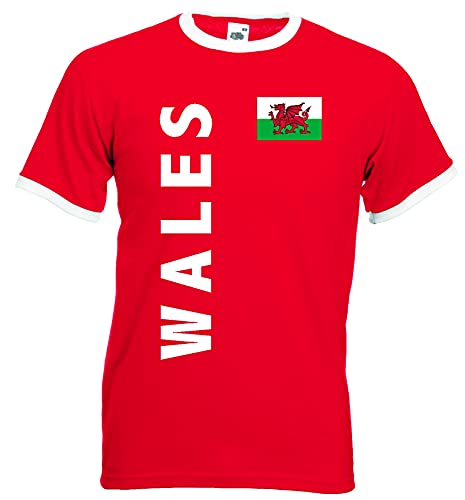 World-of-Shirt Herren Retro T-Shirt Wales Trikot EM 2016|rot-L