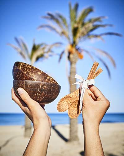 pandoo Kokosnuss Schalen 2er Set - 100% Naturprodukt - Plastikfreie Alternative - Handgefertigt und mit Kokosöl poliert - 4