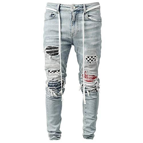 Vaqueros para Jeans Pantalones Jeans Hombre Ropa Vintage Hiphop Streetwear Angustiado Negro Blanco A Cuadros Efecto De Impresión Medio Casual Pantalones De Mezclilla De Alta Moda X