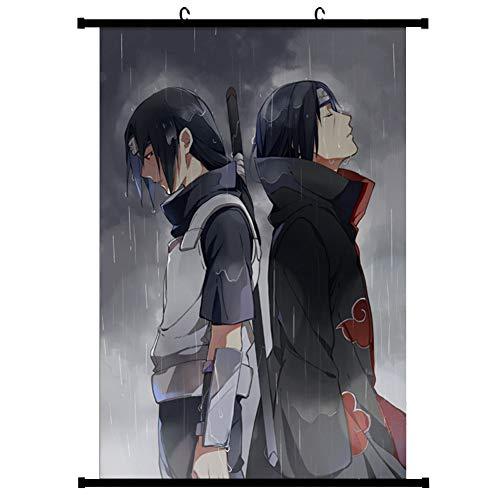 ALTcompluser Anime Naruto Rollbild/Kakemono Wallscroll Wandbild Stoff Poster Hängendes Plakat, Zimmer Deko Wand(40 x 60 cm Uchiha Itachi)