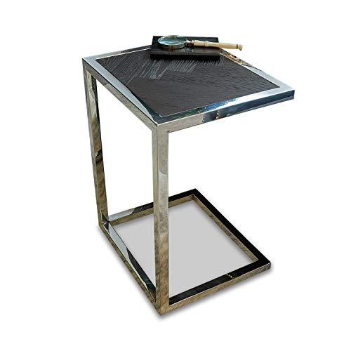 Loberon Beistelltisch Amari, Edelstahl, H/B/T ca. 55/40 / 35 cm, Dunkelbraun/Silber