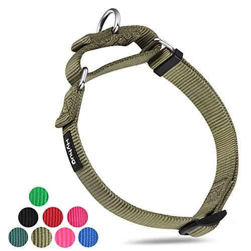 Hyhug Pets Hundehalsband aus strapazierfähigem Nylon für Jungen- und Mädchenhunde bequem und sicher – professionelles Training, tägliche Verwendung beim Walken, Small, Military Green