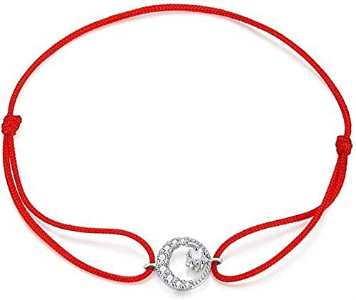 Pulsera china Pulsera hecha a mano Feng Shui 925 Pulsera de plata esterlina, unisex elegante pulsera ajustable afortunado cuerda roja luna estrella encanto brazalete de plata para mujer niña aniversar