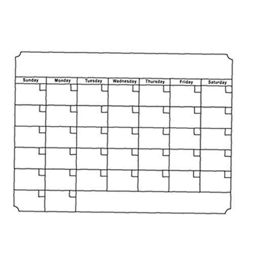 Rrunzfon 1 Pc borrado en seco mensual Calendario Establecer calendarios magnéticos de la Tarjeta Blanca Frigorífico Reutilizable semanal Cocina Nevera Planner