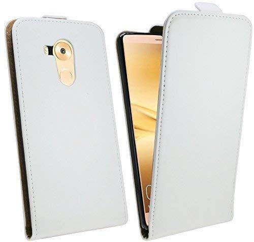 Preisvergleich Produktbild ENERGMiX Klapptasche kompatibel mit Huawei Ascend Mate 8 Schutztasche in Weiß Tasche Hülle