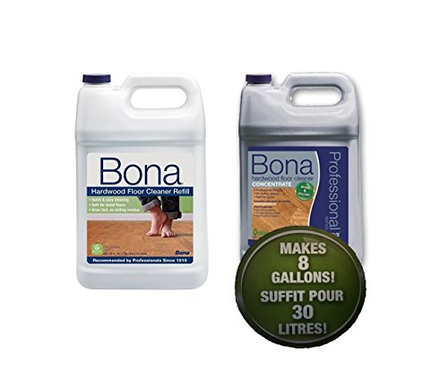 Bona Hardwood Floor Cleaner Refill with Concentrate (makes 8 Gallons) Super Bundle