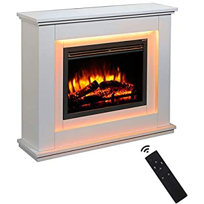 OUNUO Electric Fireplace Wall Mounted Electrical MDF Fire Suite, 1000W/2000W 7 Flame Colour Effect with Remote Control, 7 Colour mood lighting, Freestanding Portable Electric Log Wood Burner Effect