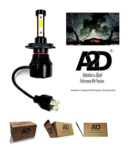 A2D® 69. 12V / 36W 3-Side Led Full Cobe H4 / Hs1 Ultra Bright Bike Headlight Bulb Replacement Kit 6000K High-Low Beam-White for Honda Cb 125 Shine Sp