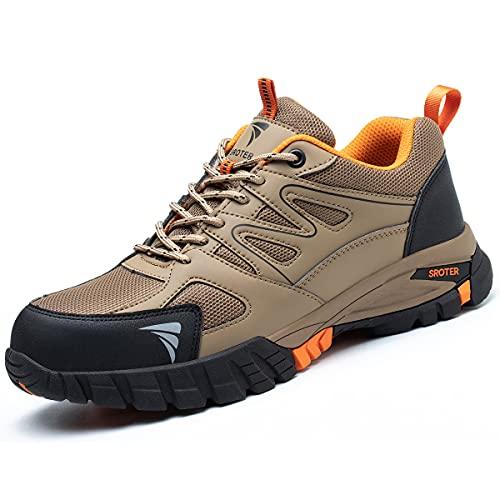 SROTER Zapatos de Seguridad para Hombre Mujer Puntas de Acero Antideslizantes Transpirables Anti-Piercing Zapatos de Trabajo Caqui EU43