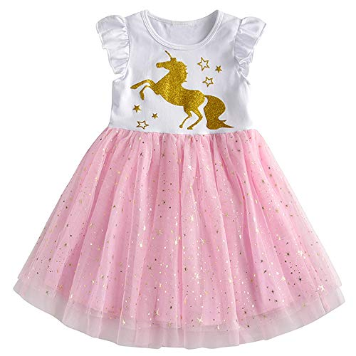 DXTON Kinder Mädchen Kleider Tüll Kleid Prinzessin Einhorn Kleid Kurzarm Kleidung Sommer SH4990 8T