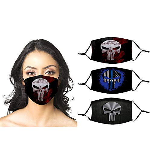 3 pcs Pu-nisher Logo Pu-nisher Logo Pu-nisher Logo 1 merch face mask men women Fashion bandanas neck gaiter Cotton Fabric Cloth 3 Layer funny Anime aesthetics face cover balaclava With 6 filters