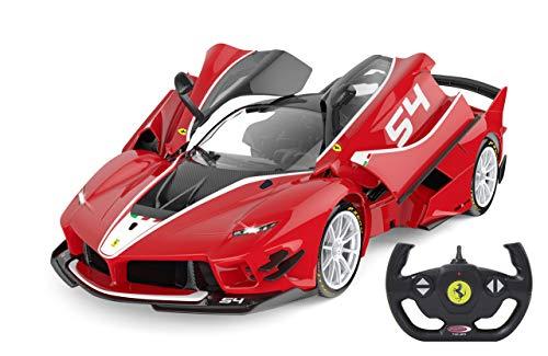 Jamara 405169 Ferrari FXX K Evo 1:14 rot Tür manuell 2,4G A – offiziell lizenziert, bis 1 Std Fahrzeit, ca. 11 Kmh, perfekt nachgebildete Details, detaillierter Innenraum, LED Licht