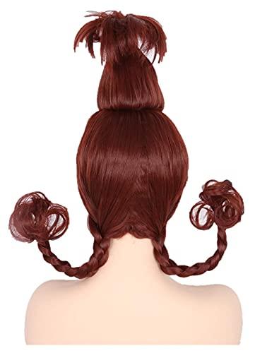 Lzpzz Peluca de niña de Navidad con Trenzas de Alambre Vino Red Cindy Lou Who Wig Cosplay Cosutme Pelucas Divertidas