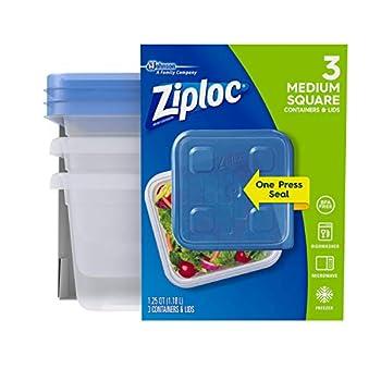 Ziploc Medium Square One Press Container 3 count per pack - 6 per case.