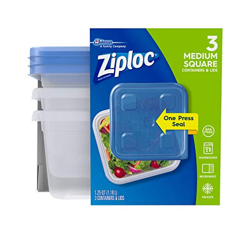 Ziploc Medium Square One Press Container, 3 count per pack - 6 per case.