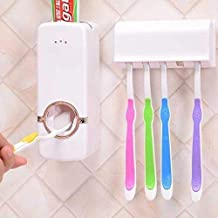 SHOPPOWORLD Plastic Automatic Toothpaste Holder One-Touch Option Automatically Squeeze Toothpaste Dispenser with 5 Toothbrush Holder