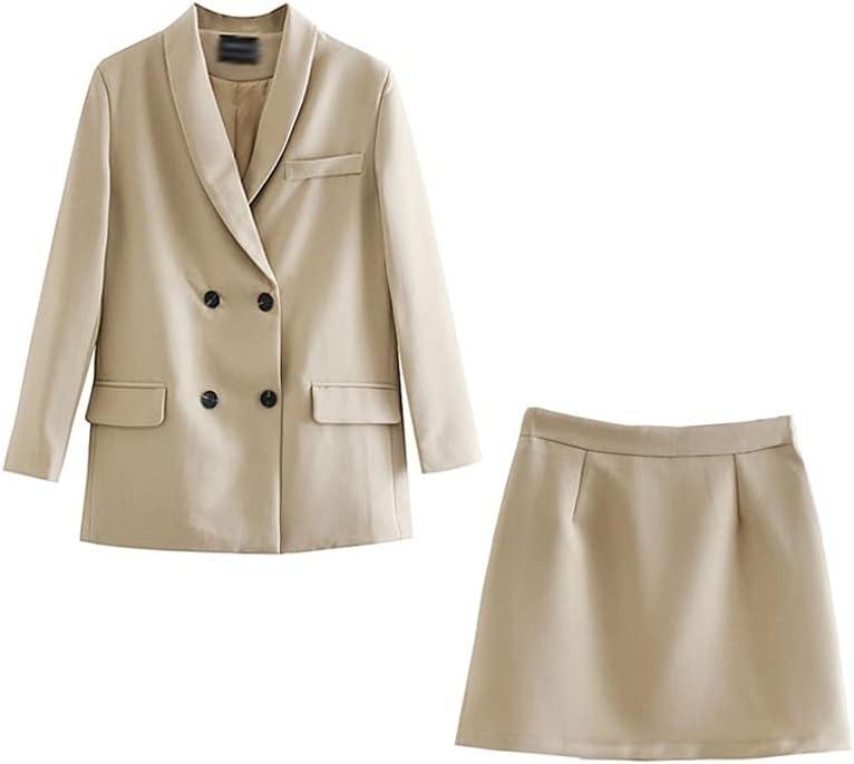 JJWC Womens Blazer Two Piece Suit Set Double Breasted Jacket Blazer Spring Ladies Formal Suit (Color : Beige, Size : M Code)