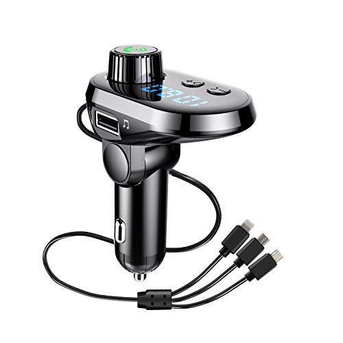 Bluetooth Voiture, Transmetteur FM Bluetooth, Câble de Données de Charge Rapide Trois en Un, Une clé pour Répondre aux, Prise en Charge de la Carte U Disk/TF