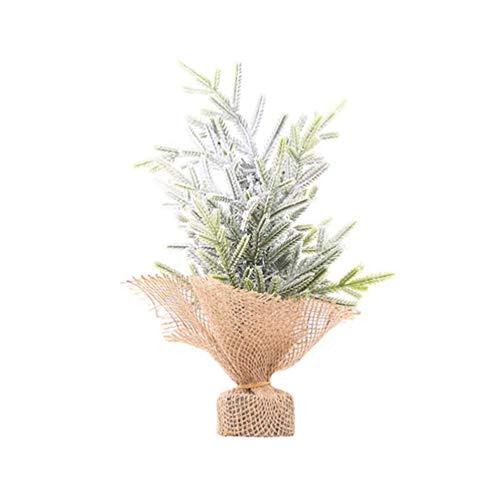 Mini árbol de Navidad de sobremesa, árbol de abeto artificial sin iluminación, árbol de pino en miniatura, árboles de nieve helada con base de arpillera para decoración de interiores de Navidad (tama