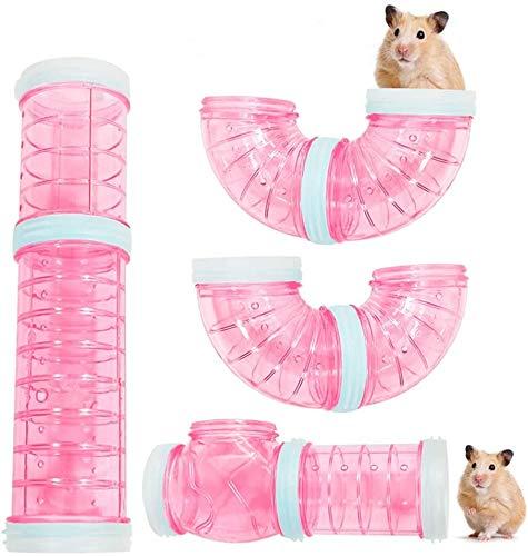 8PCS Röhren Für Den Tunnel Hamster, DIY Hamster Cage Tube Hamster Spielzeug Hamster Cage Tubes Tunnel für Kleine Tierkäfig Externe Zubehör (Rosa)