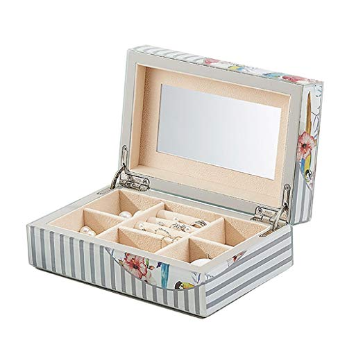Eenlaags sieradendoosje Tuin Kunst Ketting Oorbellen Ring Sieraden Doos Opbergdoos met Spiegel, Glas Materiaal