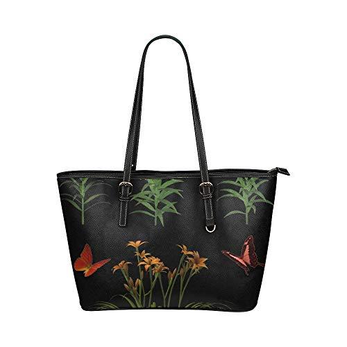 Luxus Handtaschen Blumen Isoliert Schmetterling Pflanze Tiger Lily Leder Hand Totes Tasche Kausalen Handtaschen Mit Reißverschluss Schulter Organizer Für Dame Mädchen Womens Kleine Tragetaschen Für Fr