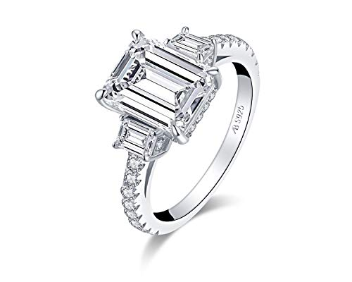 WOAINI 3.0 Carats Emerald Cut Cubic Zirconia Rhodium Plated Sterling Silver 3-Stone Engagement Ring Anniversary Wedding Band Rings (5.5)