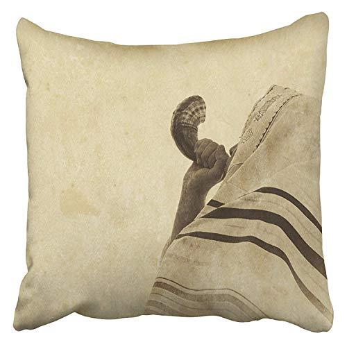 Kinhevao Dekoratives Wurfskissen Jüdischer Mann, der das Shofar-Horn von Rosh Hashanah New Year Religious Symbol Old Filter Cushion durchbrennt