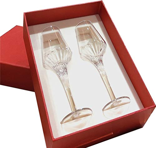 ZKHD Sparkling Flute Glasses, Each Set of 2, 8 Oz Crystal Champagne Glasses, Suitable for Family Bar Anniversary Birthday Wedding