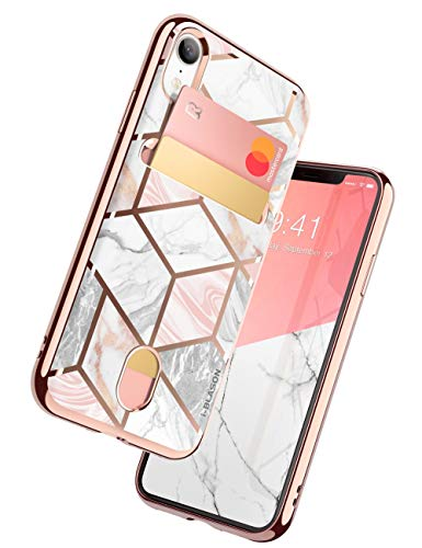 i-Blason Cosmo Wallet Slim Designer Wallet Case for Apple iPhone XR (Marble)