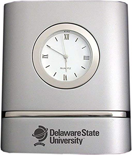 Delaware State University Two Toned Desk Clock Silver