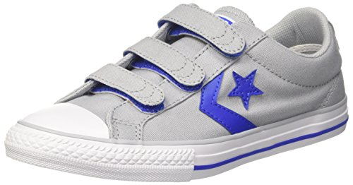 Converse Unisex-Kinder Star Player EV 3V OX Fitnessschuhe, Grau (Wolf Grey/Hyper Royal/White 097), 34 EU