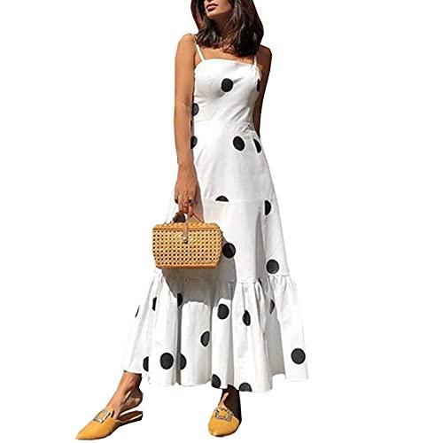 SLYZ Vestido De Tirantes De Lunares con Top De Tubo Sexy De Moda De Verano De Mujeres Europeas Y Americanas