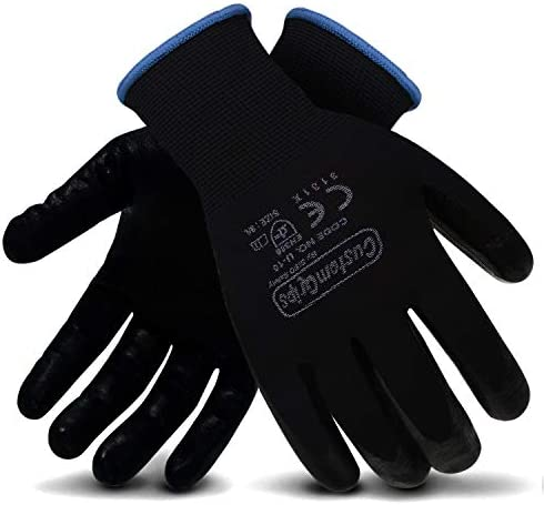 CustomGrips Cut Resistant Work Gloves Black Nylon Liner Ultra Thin Breathable Polyurethane PU product image