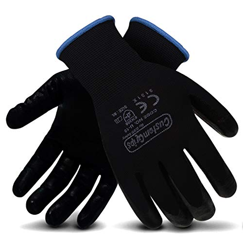 CustomGrips Cut Resistant Work Gloves, Black Nylon Liner, Ultra-Thin Breathable Polyurethane (PU) Palm Coated Gloves, Superior Grip for Wet and Dry Environments [XX-Large, 12 Pairs]