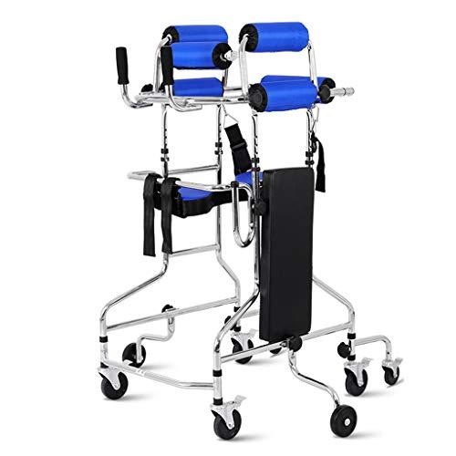 ZZR Carritos médicos Andador multifunción para discapacitados, antivuelco, antivuelco, Marco para Caminar de 120 kg / 220 LB, Ajuste de Altura y Ancho Asiento extraíble