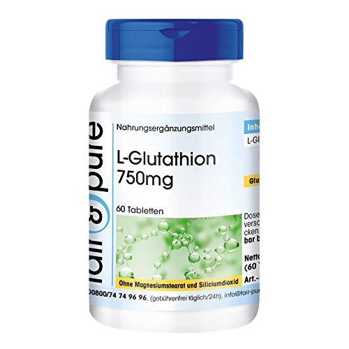 L-Glutathion 750mg - reduziert - vegan - hochdosiert - ohne Magnesiumstearat - 60 L-Glutathion-Tabletten