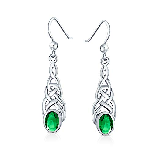 Celtic Knot Work Love Knot Kelly Green Dangle Earrings Fish Hook Oval Simulated Emerald Glass 925 Sterling Silver