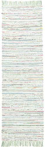 CarpetFine: Tappeto di Lana Kilim Chindi Passatoia 75x240 cm Verde - Strisce