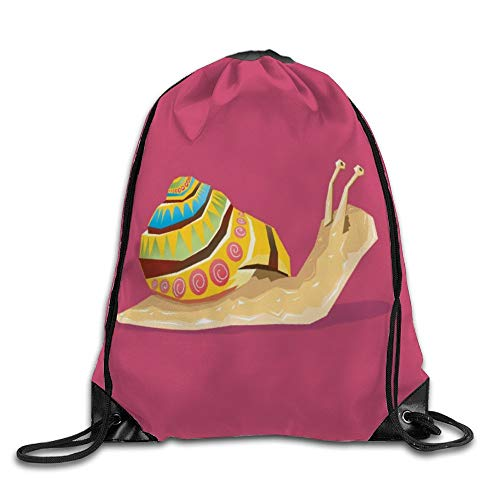 """DKISEE Unisex Double Shoulder Bag Slow Snail Waterproof Drawstring Bags Sport Gym Bags Gym Shopping Sport Drawstring Backpack 13""""x18"""""""