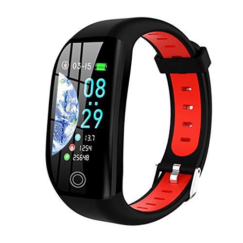 YNLRY Pulsera inteligente de pantalla a color durante todo el día, ritmo cardíaco, presión arterial, movimiento de sueño, reloj de natación impermeable (color rojo)