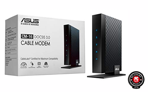 Asus CM-16 Docsis 3.0 Cablelabs-Certified 16x4 686 Mbps Cable Modem Certified by Comcast Xfinity, Spectrum and Other Service Providers,Black