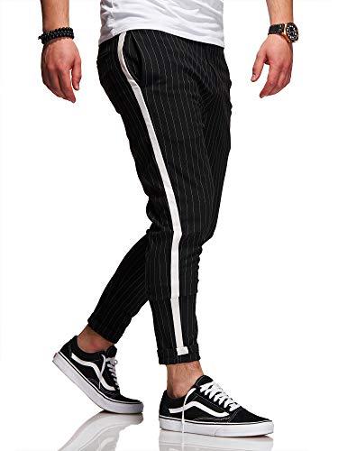 behype. Herren Chino-Hose Nadelstreifen-Hose Side-Stripe Anzugs-Hose 80-0130 Schwarz W32