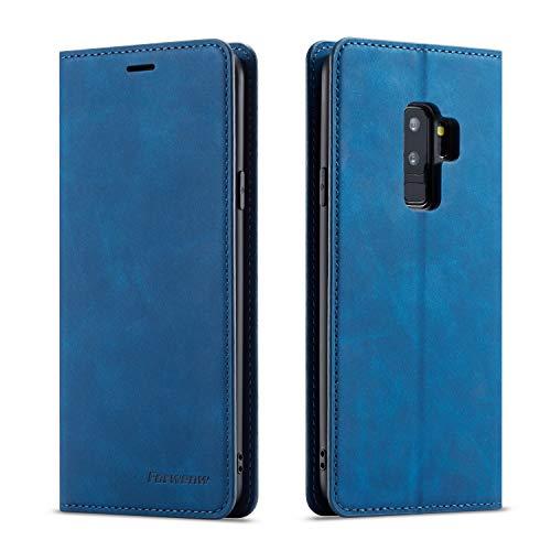 EZYUTAK Hülle für Samsung Galaxy S9, Magnetverschluss Premium PU Leder Flip Hülle mit Kartenfächern Brieftasche Standfuntion stoßfeste Silikonhülle Retro Ledertasche - Blau