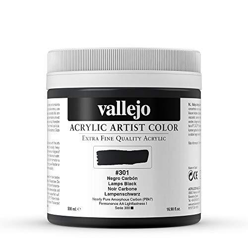 Vallejo : Artist Acrylic Paint : 500ml Pot : Lamp Black