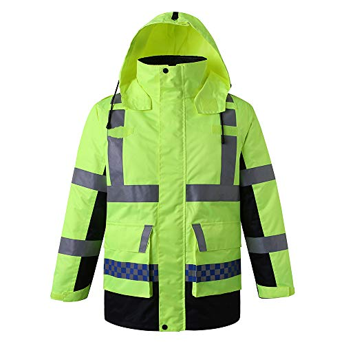 Topuality Sicherheitsregenjacke mit Abnehmbarer Steppjacke Kapuze Wasserdicht Reflektierend Warnschutz Regenmantel Verkehrsjacke für Winter Gelb Größe XL